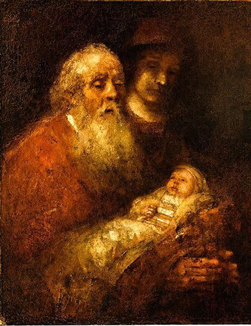 Rembrandt, Simeon with Jesus, 1669